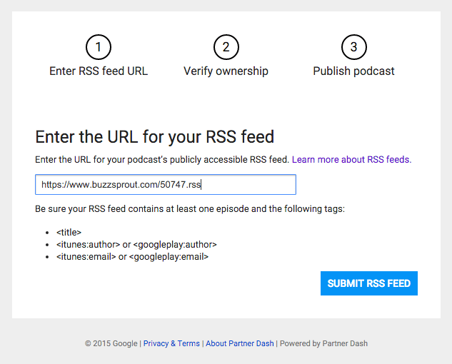 Submit RSS Feed to Google Play Music