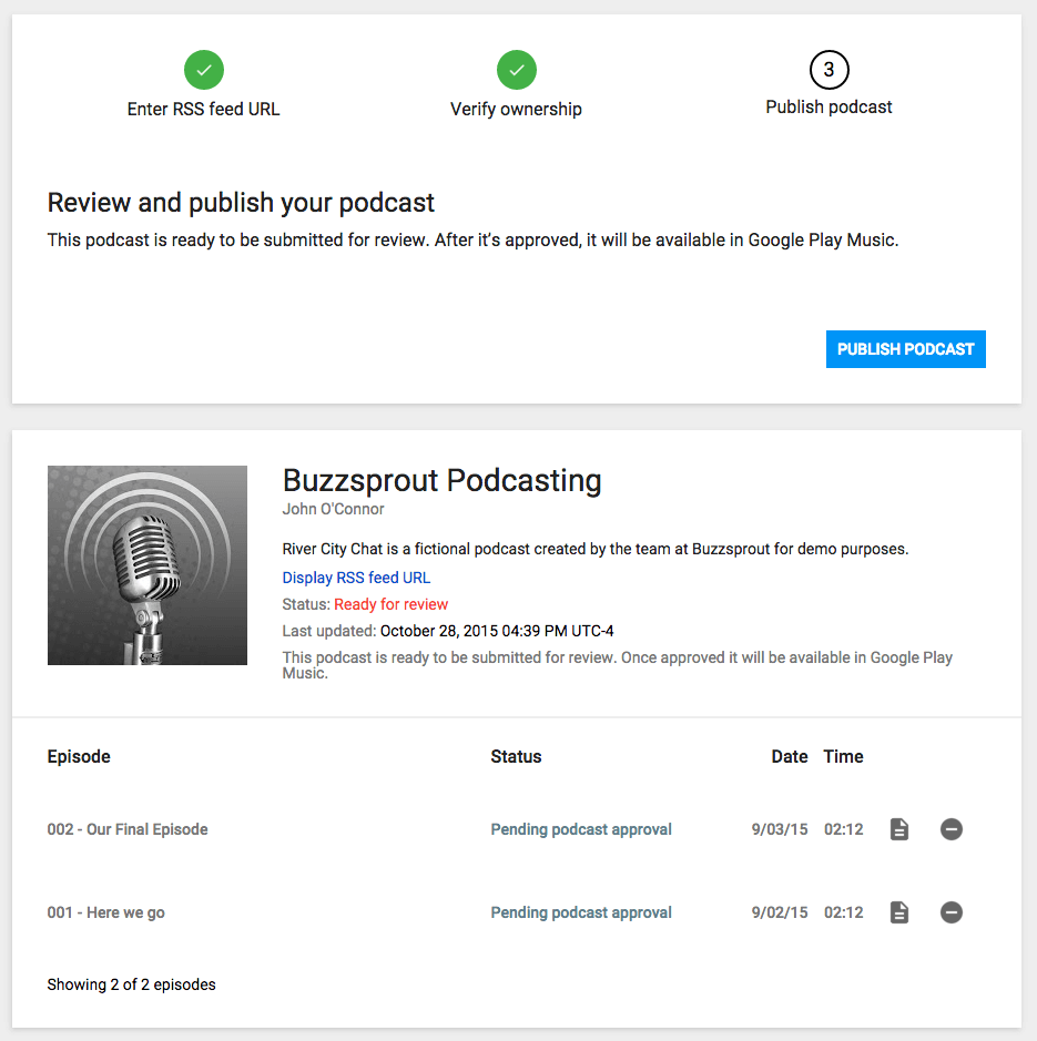Publish your podcast in Google Play