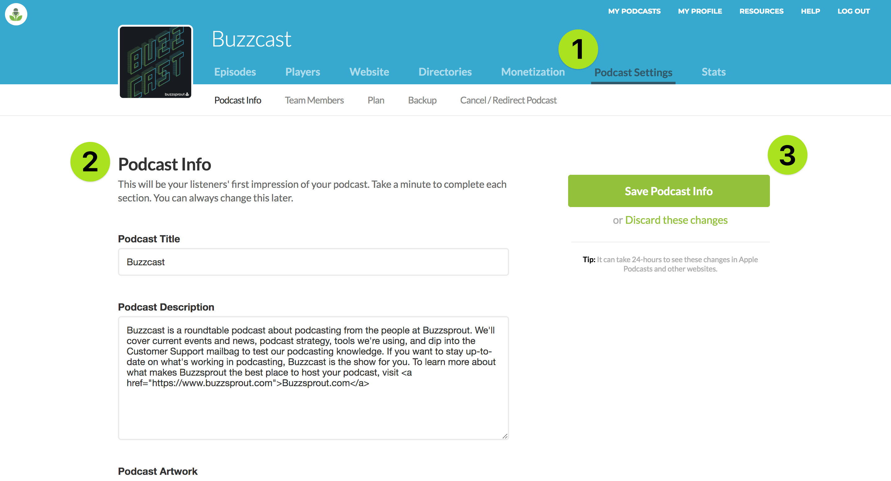 Change Buzzsprout Podcast Details