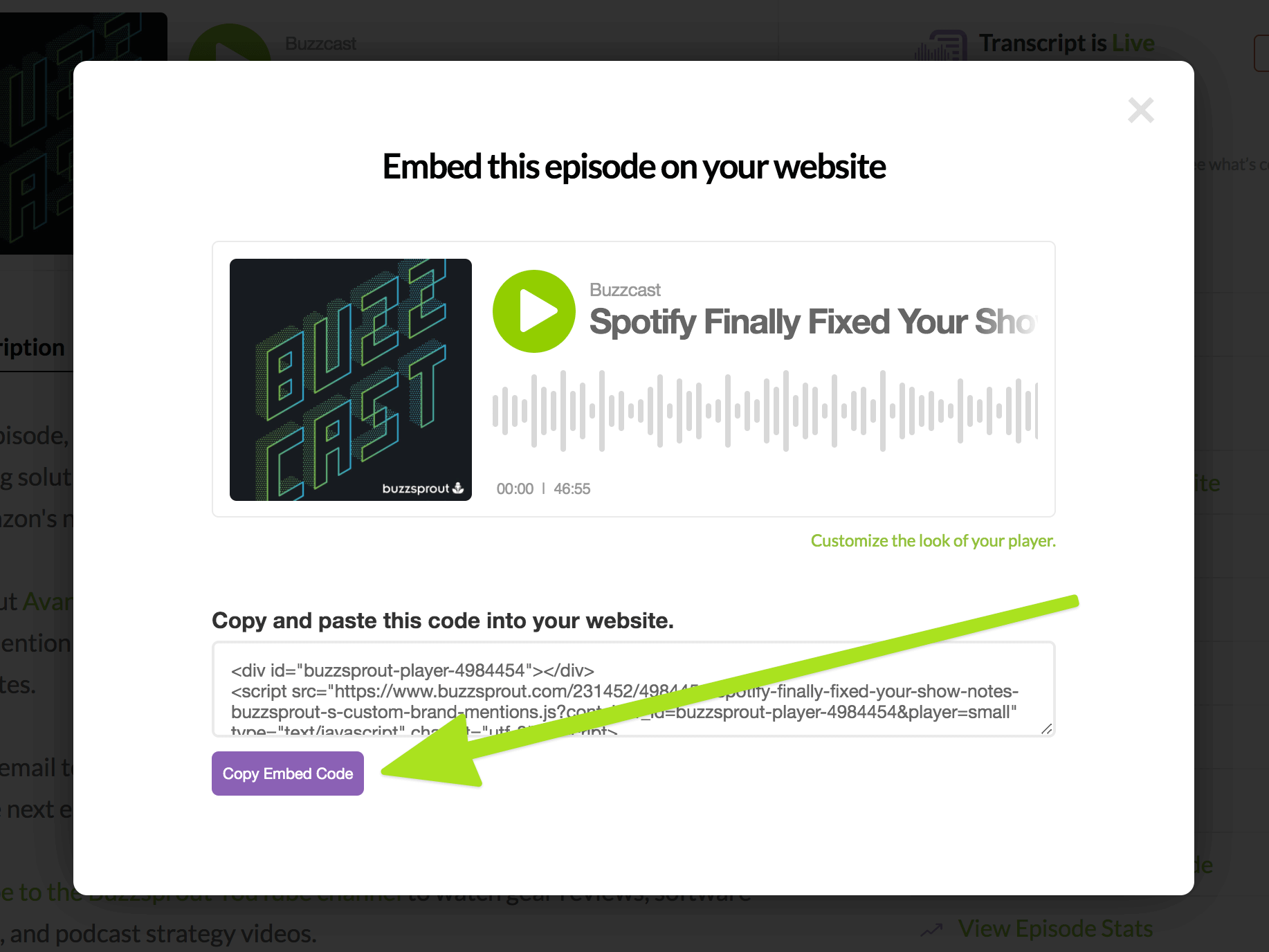 Find Podcast Player Embed Code