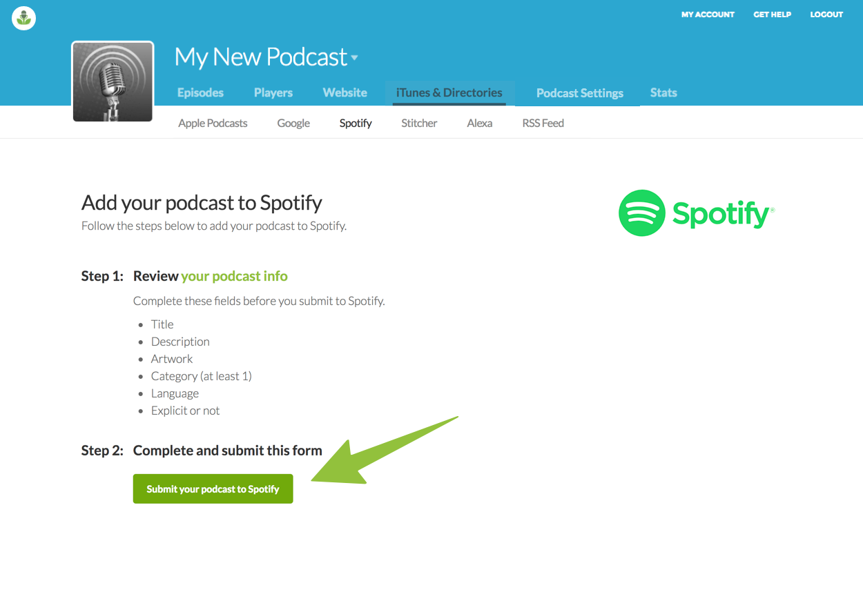 Submit your podcast to Spotify