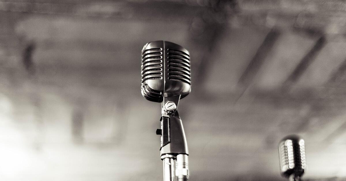 Night Vintage Microphone Bokeh